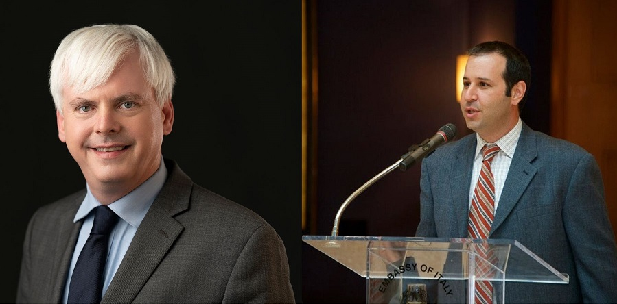 Henry Farrell (left) and Abraham L. Newman, winners of the 2019 Palmer Prize