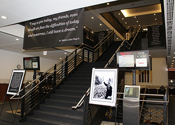 Posters of Dr. Martin Luther King in Chicago-Kent's entrance