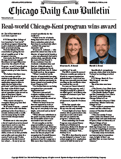 Real-world Chicago-Kent program wins award, Chicago Daily Law Bulletin article