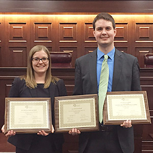Chicago-Kent's 2016 Saul Lefkowitz Moot Court Competition team of Stephanie Crigler and Kenneth Matuszewski