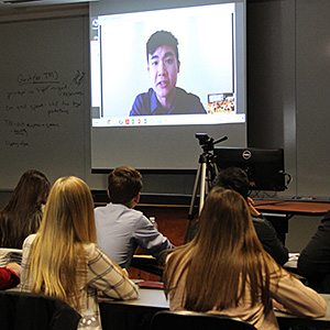 Simon Tam, founder of the Slants and respondent in the Supreme Court case <em>Lee v. Tam</em>, spoke via Skype at an event held in March at Chicago-Kent to teach local high school students about the Supreme Court.