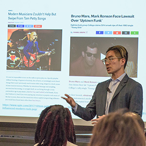 Professor Edward Lee gave a talk on his empirical study of fair use in music copyright cases.