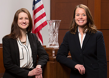 Nicolette Ward '16 (left) and Emily Schroeder '15, winners of the 2015 National Trial Competition