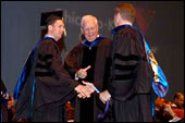 Shaking hands at Commencement