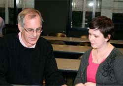 Michael S. O'Connell '79 advises Michelle Green '11 during orientation.
