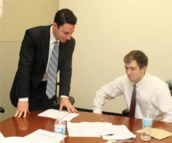 Alumni-mentor, Michael J. Goldberg from Whiteside & Goldberg, LTD., with SSPI participant Stephen Klang
