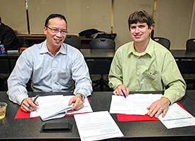 Michael Parrent (right) with his mentor Benjamin Wong