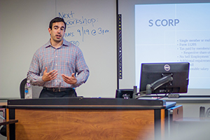 Andrew Gordon ('12) discusses best practices for accounting and tax.