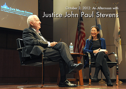 Prof. Nancy Marder (right), a former law clerk to Justice Stevens and director of the law school's Jury Center, moderated the Q&A session, which included questions about Justice Stevens' experiences as a World War II codebreaker, how he would have voted in Snyder v. Phelps, why he wears a bowtie, and his views on cameras at the Supreme Court.
