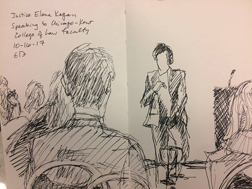 Professor Evelyn Brody captured the scene in a sketch of U.S. Supreme Court Justice Elena Kagan meeting with Chicago-Kent faculty members.