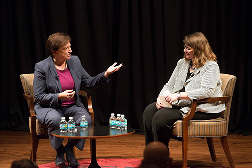 Professor Carolyn Shapiro (left), director of Chicago-Kent's Institute on the Supreme Court of the United States, interviewed U.S. Supreme Court Justice Elena Kagan in the Richard B. Ogilvie Auditorium. Professor Shapiro was one of Justice Kagan's students at the University of Chicago.