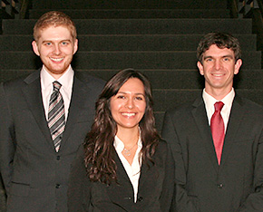 From left, 3L students Jack Kennedy, Helena Gonzalez and David Jorgensen are the winners of the National Moot Court Competition regional tournament, held November 12 to 13 in Milwaukee. The team will compete in the national finals in New York January 30 through February 2, 2012.