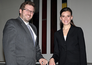From left, third-year IIT Chicago-Kent students John Darragh and Anne Schmidlin will compete on one of the teams representing the law school at the CBA Young Lawyers Division's 2012 Moot Court Competition.
