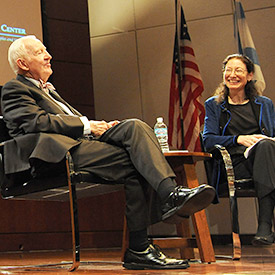 Retired U.S. Supreme Court Justice John Paul Stevens answered audience questions after his October 3 lecture at IIT Chicago-Kent. Prof. Nancy Marder (right), who clerked for Justice Stevens, is founder and director of the law school's newly renamed Justice John Paul Stevens Jury Center.
