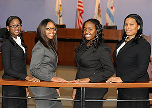 From left, IIT Chicago-Kent students Hazel Gumbs, Rachel Oliver, Joanna Ojo and Brittany Pritchett will defend the law school's regional title in the 2012 National Black Law Students Association's Thurgood Marshall Mock Trial Midwest Regional Competition.