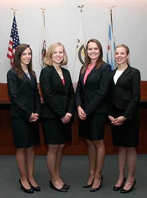 Tara Korthals '13, Valerie Raedy '14, Bernadett Guy '13 and Erin Mayer '13 will represent IIT Chicago-Kent College of Law in the 2012 National Institute for Trial Advocacy's Tournament of Champions.