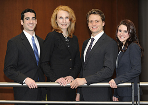 From left, IIT Chicago-Kent students Brett Siegel, Jennifer Rexroat-Lavin, Nicholas Economakos and Amanda Bielinski will comprise the other team representing the law school at the American Association for Justice's (AAJ) 2012 Student Trial Advocacy Competition's regional tournament.