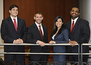 From left, third-year IIT Chicago-Kent students Carlos Vera, Daniel Crone, Jessica Velez and Marcell Taylor will compete on one of the teams representing the law school at the American Association for Justice's (AAJ) 2012 Student Trial Advocacy Competition's regional tournament.