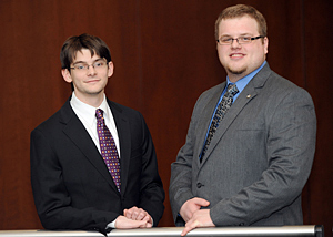 From left, third-year students Richard Poskozim and Filip Zucek will comprise the other team representing IIT Chicago-Kent at the CBA Young Lawyers Division's 2012 Moot Court Competition.
