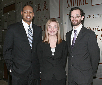 From left, 3L students Christopher Rothwell, Meganne Britton-Trela and Richard Madison will compete in the 2012 Moot Court National Championship January 27 to February 2 in Houston.