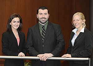 From left, Irena Kin, Sam Mustain and Emily Chase-Sosnoff will compete in the 2013 National Moot Court Competition finals in New York.
