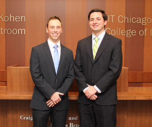 Michael Albert (left) and Ryan Hanneken will compete on one of two teams representing IIT Chicago-Kent at the 2014 National Veterans Law Moot Court Competition.
