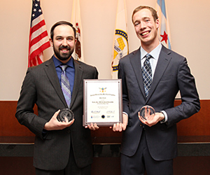 Third-year students Lyal Fox III (left) and Jared Reynolds are the winners of the National Veterans Law Moot Court Competition.