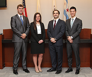 Lucas Peters '15,  Molly Condon '15, Matthew McCarter '15 and Michael Zhang '15 will compete on one of two teams representing IIT Chicago-Kent in the 2015 AAJ Student Trial Advocacy Competition.