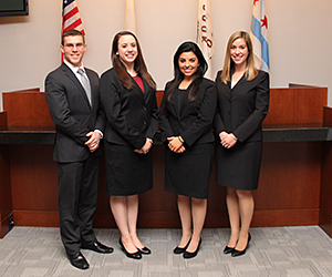 Joshua Rehak '15, Laurel Martinez '15, Elizabeth Romano '16 and Laura Henneman '15 will compete on the other team representing IIT Chicago-Kent in the 2015 AAJ Student Trial Advocacy Competition.