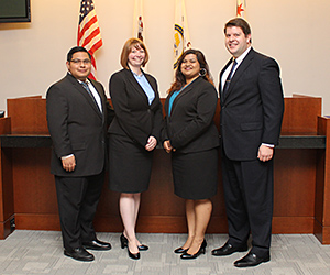 Gus Hernandez, Haley Jenkins, Mohini Lal and John Higgins will compete on one of two teams representing Chicago-Kent in the ABA Section of Labor and Employment Law's 2015 regional trial advocacy competition.