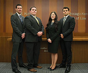 David Springer, Patrick Brady, Brittany Barclae and Mihail Kostov will compete on the other team representing Chicago-Kent in the ABA Section of Labor and Employment Law's 2015 regional trial advocacy competition.