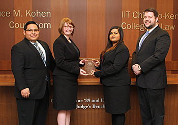 Third-year students Gus Hernandez, Haley Jenkins, Mohini Lal and John Higgins won the ABA Section of Labor and Employment Law's regional trial advocacy competition November 14 and 15, 2015, in Chicago.