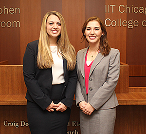 Jennie Balkas (left) and Kelly O'Neill will compete on a third team representing Chicago-Kent in the ABA Regional Negotiation Competition.