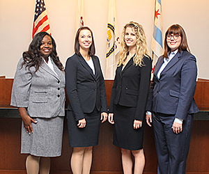 Kendra Spearman, Lindsay Hicks, Paige Olsen and Tracey Harkins will represent Chicago-Kent at the 2015 Buffalo-Niagara Mock Trial Competition.