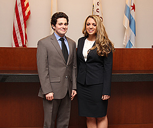 Kevin Doran '15 (left) and Jennie Balkas '16 won the American Bar Association's (ABA) Law Student National Representation in Mediation Regional Competition.
