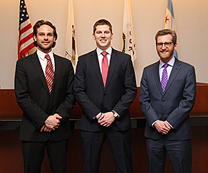 Patrick Etchingham, Gregory Conner and Nicholas Brankle will compete as a team in the sixth annual National Cultural Heritage Law Moot Court Competition.