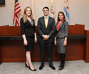 Samantha Gaul, David Welch and Miranda Crowell will participate in the 30th annual Dean Jerome Prince Memorial Evidence Competition.