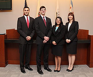 Bobbie Irvin '15, Michael Sherer '16, Evelyn Hernandez '16 and Lindsay Hicks '16 will represent IIT Chicago-Kent in the 2015 National Criminal Justice Trial Competition.