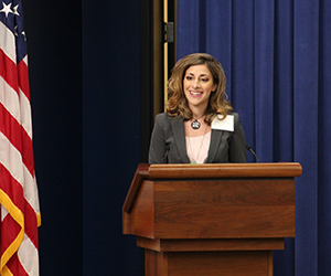 "Third-year student Hanna Kaufman presented ""Law Students + Technology = Closing the Justice Gap"" at the White House Forum on Increasing Access to Justice. (Photo courtesy of Ashley Matthews, LSC, 2015.)"