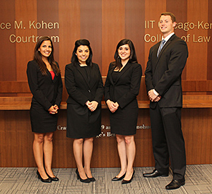 Aniuska Rovaina, Elizabeth Romano, Gabrielle Romano and Bryce Hensley will represent Chicago-Kent at the 2015 National Civil Trial Competition.