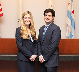 Lauren Darwit and Angelo Christopher will compete on the other team representing Chicago-Kent at the National Moot Court Competition Region 8 tournament.