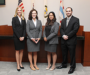 The team of Annie Motto, Symone Shinton, Sona Arora and Daniel Sanders will represent IIT Chicago-Kent in the 2015 National Pretrial Competition.