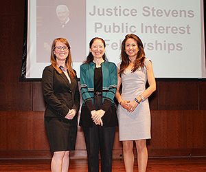 IIT Chicago-Kent students Lydia Ness (left) and Ana Montelongo (right), pictured here with faculty adviser Professor Nancy Marder, received 2015 Stevens Fellowships to support their public interest work this summer.