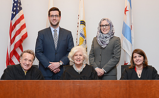 The Honorable Robert E. Gordon, the Honorable Ilana Diamond Rovner, and Illinois Solicitor General Carolyn Shapiro judged the final round of the competition.