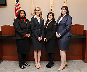 Kendra Spearman '15, Ann Motto '16, Gabrielle Romano '16, and Tracey Harkins '16 will represent the law school at the National Ethics Trial Competition championship.