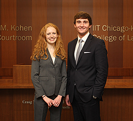 Kayla Higgins and Leo Reardon will compete on one of two teams representing Chicago-Kent at the 2015 National Veterans Law Moot Court Competition.
