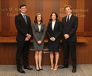 The team of Michael Sherer, Nicolette Ward, Ana Montelongo and Tyler Mikan will represent Chicago-Kent at the 2015 National White Collar Crime Mock Trial Invitational.