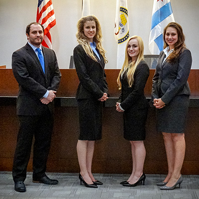 The trial advocacy team of (L-R) Dan Sanders, Paige Olsen, Krista Krepp and Kristen Farr Capizzi competed for Chicago-Kent at the Lone Star Classic in October 2016.