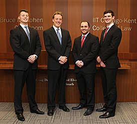 Bryce Hensley '17, Tyler Mikan '17, Daniel Sanders '17 and Michael Sherer '16 will comprise the other team representing Chicago-Kent at the 2016 AAJ Student Trial Advocacy Regional Competition.