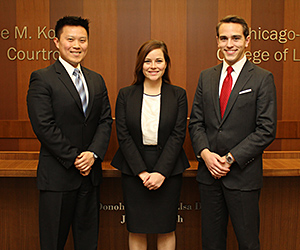 Third-year students Peter Cheun, Alexandra McNicholas and Alex Beehler will represent Chicago-Kent in 2016 Andrews Kurth Moot Court National Championship.